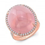 Pink Cabochon And Diamond Ring