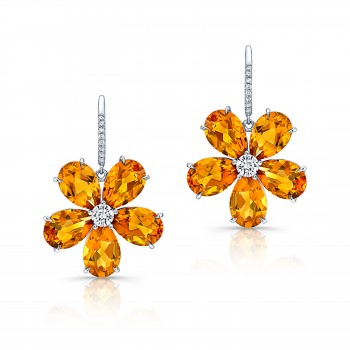 Citrine Diamond Earrings