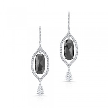 Black Cushion Diamond Dangling Earrings